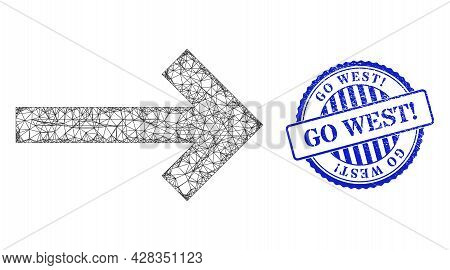 Vector Net Direction Arrow Carcass, And Go West Exclamation Blue Rosette Grunge Stamp Seal. Crossed