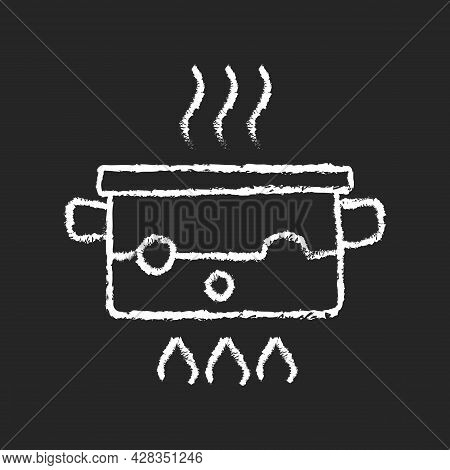 Boil For Cooking Chalk White Icon On Dark Background. Simmering Water In Pot On Stove. Bubbling Liqu