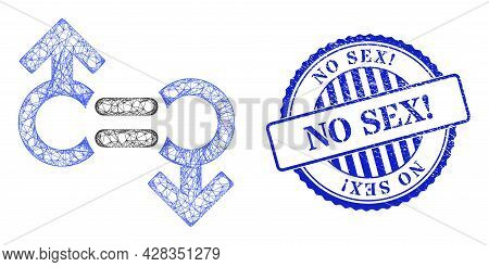 Vector Network Gay Relation Symbol Carcass, And No Sex Exclamation Blue Rosette Rubber Badge. Hatche
