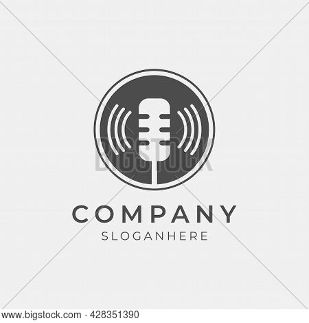 Vector Illustration Of Modern Podcast Logo Perfect For Podcast Media Company