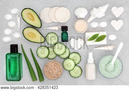 Natural skin and body care nourishing, cleansing, ex foliating beauty treatment products. Health care concept. Cruelty free, suitable for vegans. Flat lay, top view.