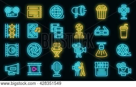 Cinematographer Icons Set. Outline Set Of Cinematographer Vector Icons Neon Color On Black