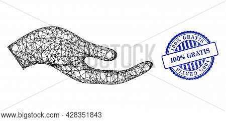 Vector Network Petition Hand Carcass, And 100 Percents Gratis Blue Rosette Dirty Badge. Crossed Carc