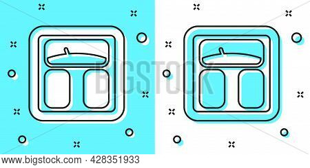 Black Line Bathroom Scales Icon Isolated On Green And White Background. Weight Measure Equipment. We