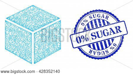 Vector Net Sugar Cube Model, And 0 Percents Sugar Blue Rosette Unclean Stamp Seal. Hatched Frame Net
