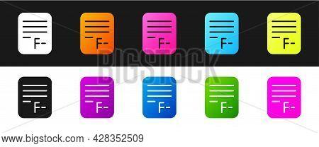 Set Exam Paper With Incorrect Answers Survey Icon Isolated On Black And White Background. Bad Mark O