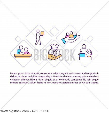 Economic Help Concept Line Icons With Text. Humanitarian Aid Ppt Page Vector Template With Copy Spac