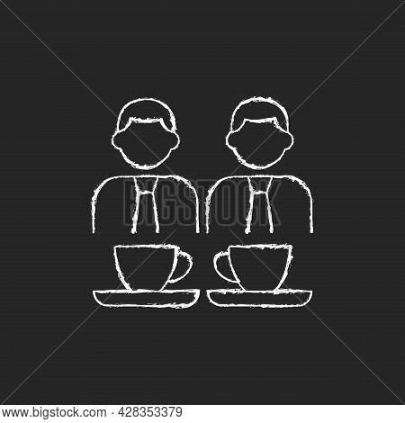 Common Breaks Chalk White Icon On Dark Background. Coworking During Coffee Break. Lunch Colleagues C