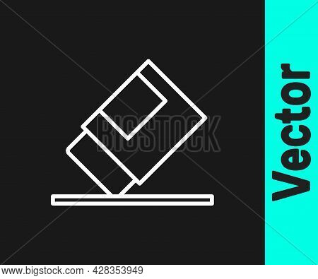 White Line Eraser Or Rubber Icon Isolated On Black Background. Vector