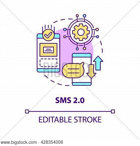 Sms 2.0 Concept Icon. Smartphone Texting. Mailing Through Social Media. Messaging Software Abstract