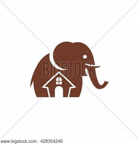 Home House Residence Elephant Logo Icon Flat Vector Concept Design