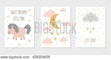 Cute Baby Posters In Pastel Colors With Cartoon Sleeping Horse, Moon And Cloud Among Stars In The Sk