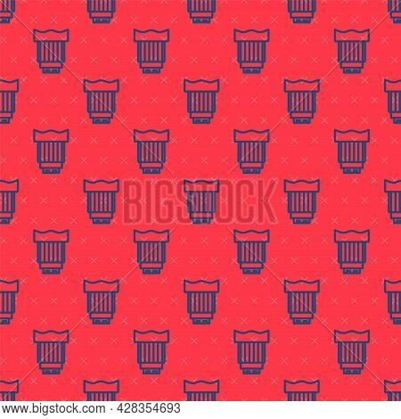 Blue Line Camera Photo Lens Icon Isolated Seamless Pattern On Red Background. Vector