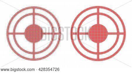 Dot Halftone Bullseye Icon. Vector Halftone Concept Of Bullseye Icon Organized Of Circle Points.