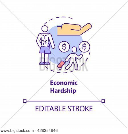 Economic Hardship Concept Icon. Reason Of Human Trafficking Abstract Idea Thin Line Illustration. Fi