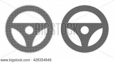 Pixelated Halftone Car Steering Wheel Icon. Vector Halftone Composition Of Car Steering Wheel Icon C