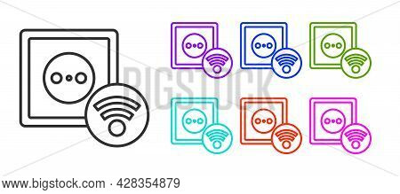 Black Line Smart Electrical Outlet System Icon Isolated On White Background. Power Socket. Internet