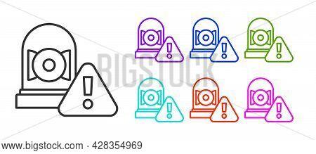 Black Line Ringing Alarm Bell Icon Isolated On White Background. Alarm Symbol, Service Bell, Handbel