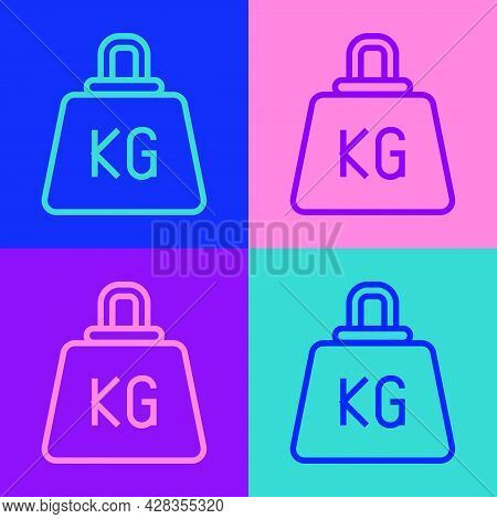 Pop Art Line Weight Icon Isolated On Color Background. Kilogram Weight Block For Weight Lifting And