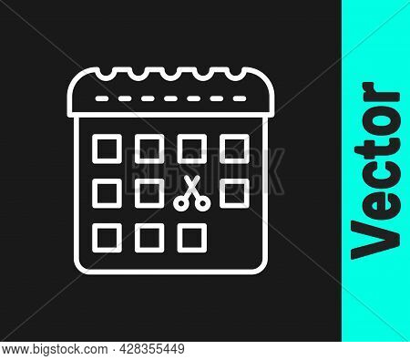 White Line Calendar With Haircut Day Icon Isolated On Black Background. Haircut Appointment Concept.