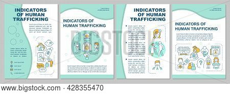 Indicators Of Human Trafficking Brochure Template. Signs Of Abuse. Flyer, Booklet, Leaflet Print, Co