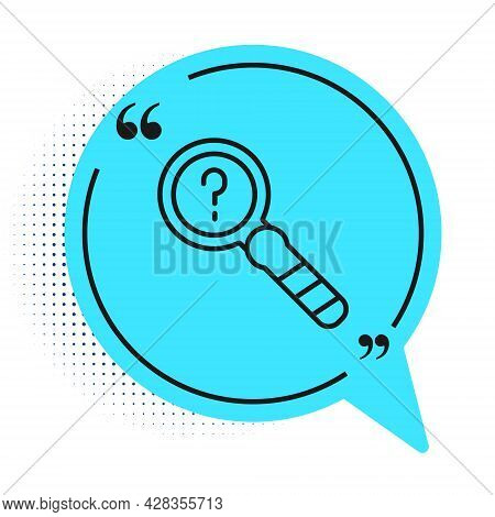 Black Line Unknown Search Icon Isolated On White Background. Magnifying Glass And Question Mark. Blu