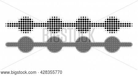 Pixelated Halftone Connected Dots Line Icon. Vector Halftone Composition Of Connected Dots Line Pict