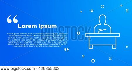 White Line Schoolboy Sitting At Desk Icon Isolated On Blue Background. Vector