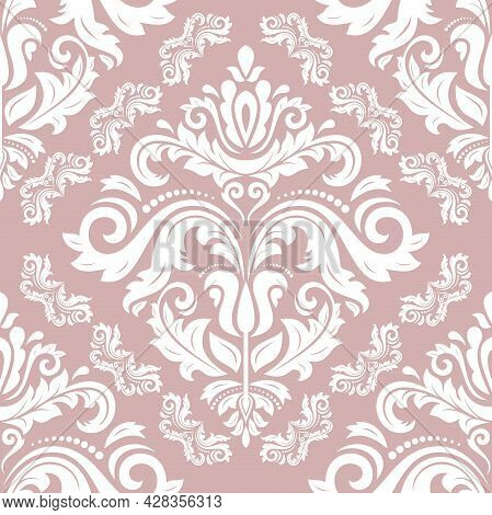 Classic Seamless Vector Pattern. Damask Orient Purple And White Ornament. Classic Vintage Background