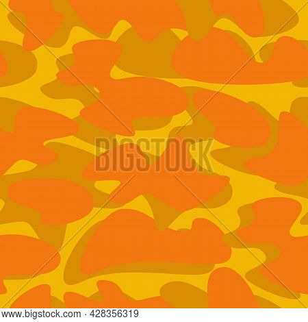 Vector Camouflage Seamless Pattern Background In Autumn Trend Yellow, Gilded Orange Color. Abstract