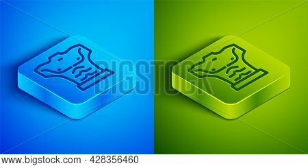 Isometric Line Bodybuilder Showing His Muscles Icon Isolated On Blue And Green Background. Fit Fitne