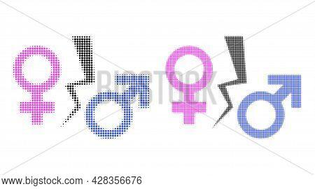Pixel Halftone Divorce Symbol Icon. Vector Halftone Composition Of Divorce Symbol Icon Combined Of R
