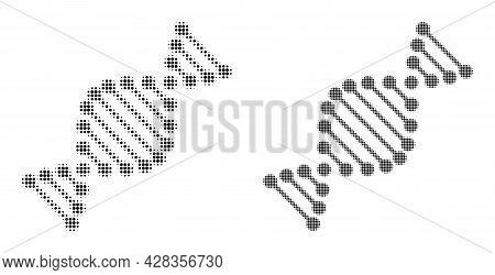 Pixelated Halftone Dna Molecule Icon. Vector Halftone Pattern Of Dna Molecule Icon Formed Of Round D