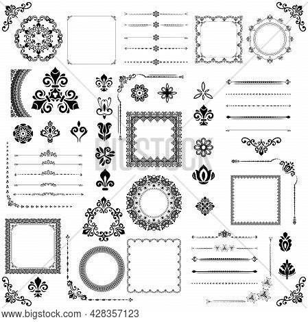 Vintage Set Of Vector Horizontal, Square And Round Elements. Different Black And White Elements For