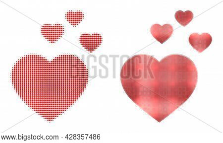 Pixelated Halftone Favorite Hearts Icon. Vector Halftone Collage Of Favorite Hearts Icon Made Of Rou