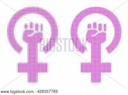Dot Halftone Feminism Symbol Icon. Vector Halftone Composition Of Feminism Symbol Icon Made Of Spher
