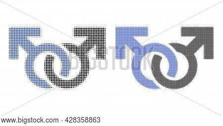 Dot Halftone Gay Pair Symbol Icon. Vector Halftone Concept Of Gay Pair Symbol Icon Designed Of Circl