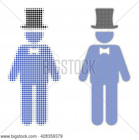 Pixel Halftone Gentleman Icon. Vector Halftone Collage Of Gentleman Icon Made Of Round Dots.