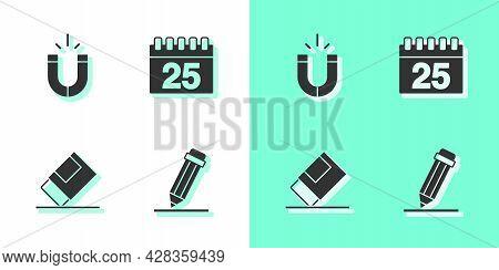 Set Pencil With Eraser, Magnet, Eraser Or Rubber And Calendar Icon. Vector