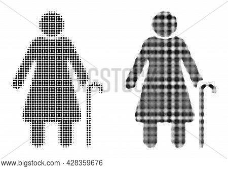Pixelated Halftone Grandmother Icon. Vector Halftone Concept Of Grandmother Icon Designed Of Circle