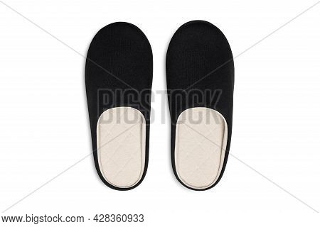Pair Of Blank Soft Black Home Slippers, Design Mockup. Hotel Bath Slippers Top View Isolated On Whit