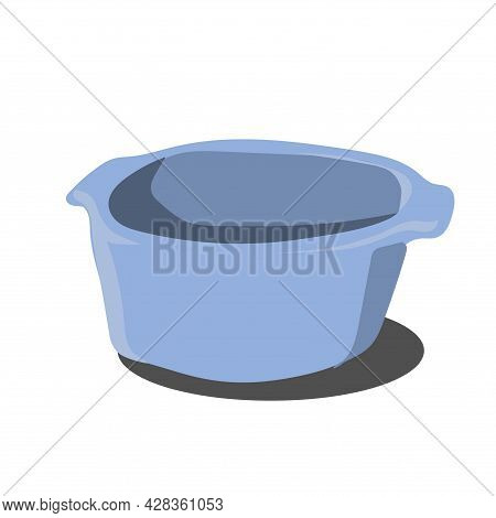 Vector Illustration Of A  Plastic Bowl For Water And Food. Isolated White Background. Plastic Basin