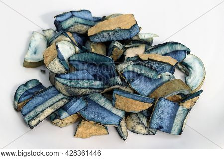 Sliced Into Pieces Edible Mushroom Gyroporus Cyanescens, Commonly Known As The Bluing Bolete Or The