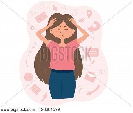 Cartoon Cute Overloaded Girl Holding Her Head