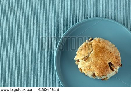Top View At British Scone On A Plate Blue Color, Flat Lay