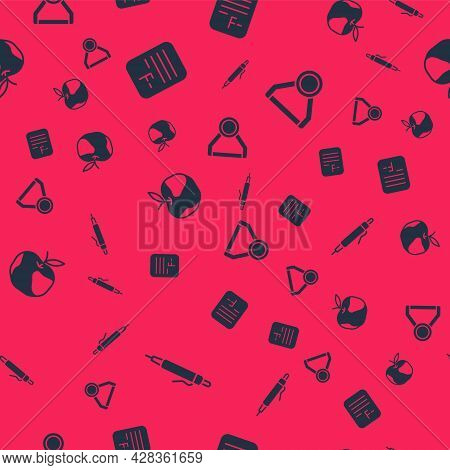 Set Pen, Exam Paper With Incorrect Answers, Apple And Medal On Seamless Pattern. Vector