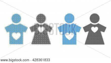 Pixel Halftone Lovers Pair Icon. Vector Halftone Collage Of Lovers Pair Symbol Formed Of Spheric Ite