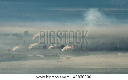 Factory Area With Smoke And Steam