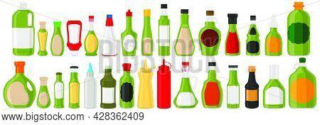 Illustration On Theme Big Kit Varied Glass Bottles Filled Liquid Sauce Pesto