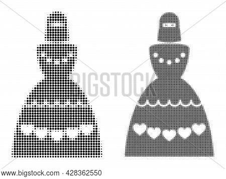 Pixelated Halftone Muslim Bride Icon. Vector Halftone Pattern Of Muslim Bride Icon Formed With Circl